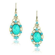 VINTAGE gioielli bronzo e Turchese Blu Goccia Orecchini E468