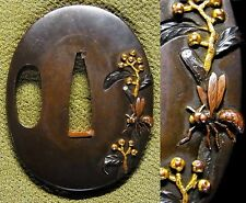 "SUPERB TSUBA 18-19th C Japanese Edo Samurai Antique Sword fitting ""Bee"" c868"