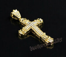 Mens 18k Gold Filled Iced Cz Cross Pendant Hip-Hop Necklace Chain