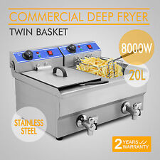 20L Commercial / Home Steel Benchtop Electric Deep Fryer w/ Double Oil Basket