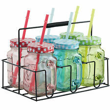 VonShef 6pc Coloured Glass Drinking Mason Jam Jar Set - Straw, Handles & Holder