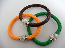 Woven leather bracelets with rhinestone magnetic fastening x 3 - 20 cms long