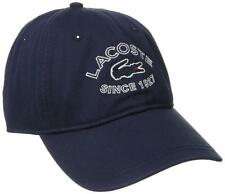 NEW LACOSTE MEN'S CROC GARBADINE BASEBALL ADJUSTABLE COTTON HAT CAP NAVY BLUE
