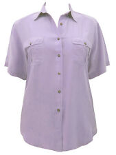 Lilac Pure Silk Shirt-Short Sleeves Button Front Twin Pockets-New- Size 16/18/20