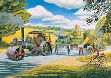 Road Menders Beautiful Print Picture Painting Steam Tractor Country