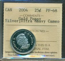 2004 Canada 25-cent Silver Gold Poppy ICCS Certified PF-68 Ultra Heavy Cameo