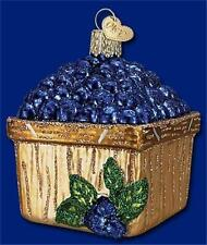 BASKET OF BLUEBERRIES OLD WORLD CHRISTMAS GLASS BERRY FRUIT ORNAMENT NWT 28102