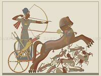 PAINTING ANCIENT EGYPTIAN CHARIOTEER ARCHER BATTLE HORSES POSTER PRINT BMP10190