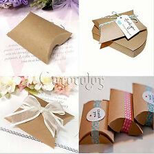 100Pcs Cute Kraft Paper Pillow favor Box Wedding Party Favour Gift Candy Boxes