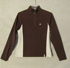 S4473 Orage Women's Large Brown and White 1/2 Zip Fleece Pullover