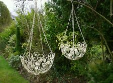 Set of 2 Ornate Shabby Chic Vintage Cream Metal Hanging Baskets Garden Home
