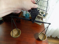 Vintage DecorativeBalance Scale Equal Arm 2 Hanging Metal Pans Hang on Wall