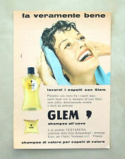 C919 - Advertising Pubblicità - 1959 - GLEM SHAMPOO ALL'UOVO TESTANERA