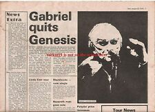 GENESIS 'Gabriel quits Genesis' 1975 UK ARTICLE / clipping