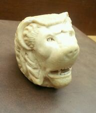 Vintage Hand Carved Lions Head Pipe End ivory color Marked Made in Turkey
