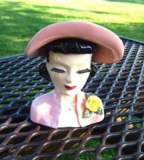PINK HAT AND DRESS YELLOW FLOWERS HEAD VASE HEADVASE