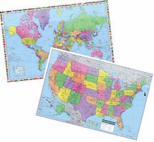"2017 UNITED STATES & World Wall Map Poster - 2 Rolled Paper Maps 36""x24"""