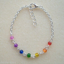 Pretty Rainbow Chakra Multi-Coloured Beaded Chain Bracelet