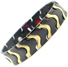 Black & Gold Magnetic 4in1 Bio Energy Bracelet Power Health Arthritis Wristband