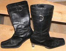 schwarze dünne Absatz Leder Stiefel Young Spirit Größe 38, wenig getragen