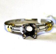 18k yellow gold platinum .20ct VS G H diamond semi mount engagement ring 5.6g