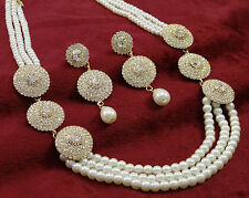 Beautiful White Pearl Beaded Necklace Set Traditional Strand Rani Haar Jewelry