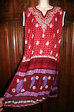 Boho embroidered crocheted tunic dress M red purple india