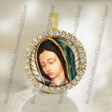 Our Lady of Guadalupe - Religious Catholic Gold Medal Cabochon Pendant