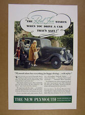 1934 Plymouth DeLuxe Sedan color car photo vintage print Ad
