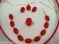 18K Gold Plated Red Jade Bracelet earring Pendant Necklace Set +free chain