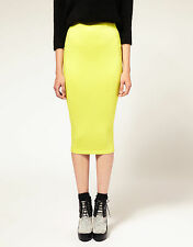 Women Lady Neon Bright Yellow Knit Knitted Warm Fashion Pencil Long Dress Skirt