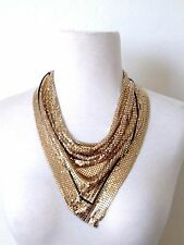 Vintage Signed WHITING & DAVIS Gold Tone Chain Mesh Scarf Bib Necklace K