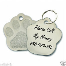 Custom Personalized Engraved Stainless Steel Paw Dog Tag Cat Tag Pet ID Name Tag