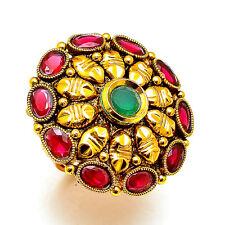 Ring One Two Gram Gold Plated Kundan Pearl Ad Jade Adjustable Jewelry Set 7340