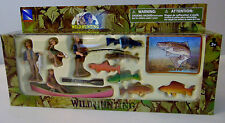 NEW Playset Walleye Fish Fly FISHING Boat Canoe Pole Oars Fishermen Figurine Toy