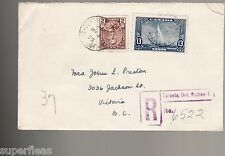 Canada 1935 212 216 Registered rate FDC cover, inverted stamp Toronto - Victoria