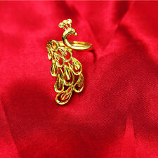Fashion 24K Gold Plated Jewelry Womens Lady Peacock Cuff Ring Adjustable Gift