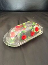 Vintage Cherry Painted Glass Covered Butter Dish MUST SEE !