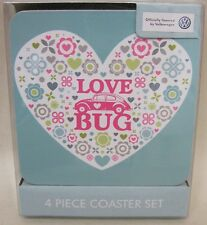 VW Beetle love bug design Set of 4 Coasters in Gift Box