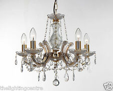 Marie Therese Glass Crystal Chandelier Ceiling Light 5 Light In Gold OR Chrome