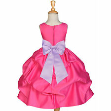 FUCHSIA HOT PINK FLOWER GIRL DRESS CHOICE OF SASH PAGEANT HOLIDAY RECITAL PARTY