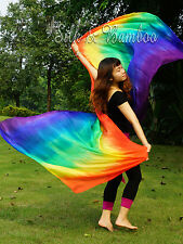 "Rainbow tie-dye 3yd*45"" 5mm light belly dance silk veil, rolled edges"