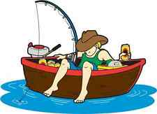 NOVELTY FISHING BOAT 12 STAND UP Edible Image Cake Toppers Birthday sport