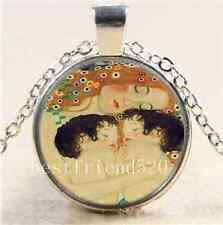 Mother and Child Photo Cabochon Glass Tibet Silver Chain Pendant Necklace#3501