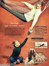 PUBLICITE ADVERTISING 086  1958  Menier  chocolat à croquer lévrier Afghan