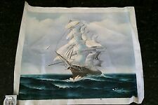 Vintage Beautiful Canvas Sailboat Painting Ship Nautical Ocean Signed WINSLOW