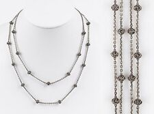 LOIS HILL Silver .925 Double Strand Chains Granulated Beads Signature Necklace