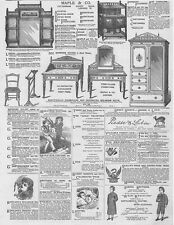 Victorian Adverts; Maple & Co Furniture, Clothing, Scents - Antique Print 1881