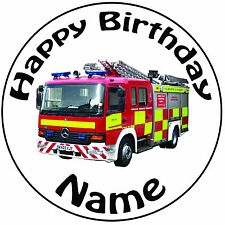 "Personalised Birthday Real Fire Engine Round 8"" Easy Precut Icing Cake Topper"