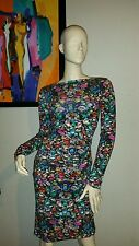M$310 NwDt Nicole Miller Artelier Multi Bejeweled Luxuriant Jersey Ruch Dress M